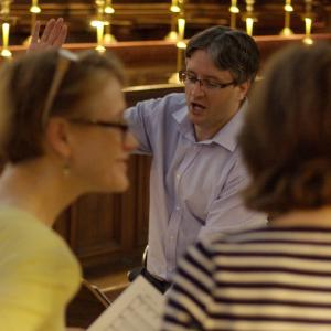 Conducting a choir rehearsal